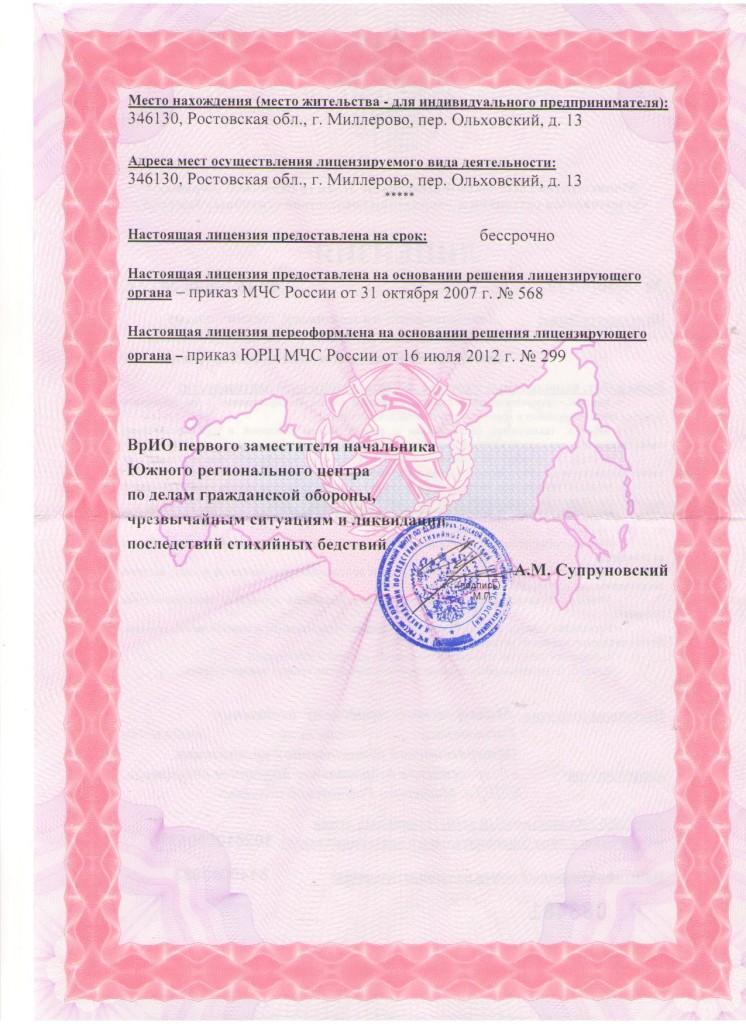 Лицензия на основную деятельностьЛист 2